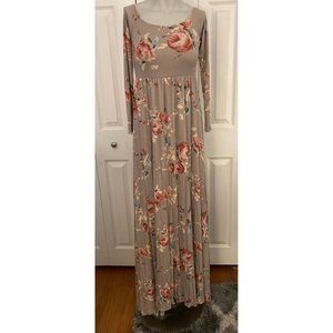 Pink Blush Multicolor Floral Ruched Flowy Maxi Dress Small